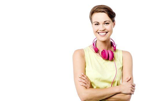 Confident woman with headphones