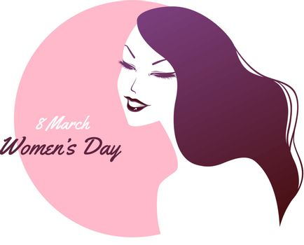 Vector illustration of Happy Women Day pink background