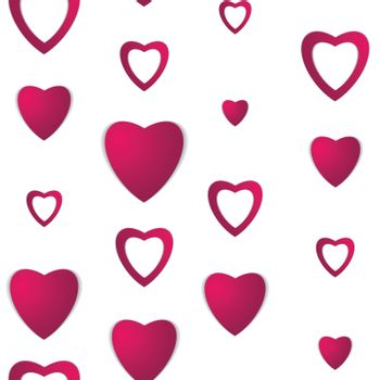 Valentines day. Abstract paper hearts. Love. Valentine background with hearts. Seamless pattern