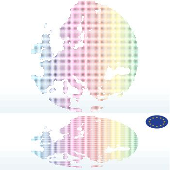 Map of Continent of Europe with with Dot Pattern