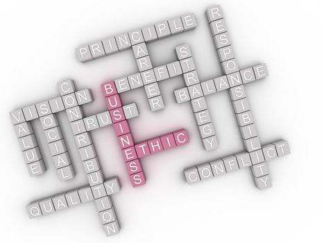 3d image business ethic  issues concept word cloud background