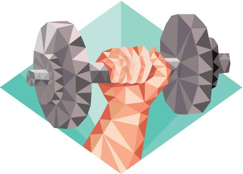 Low polygon style illustration of a hand lifting dumbbell weight training set inside diamond shape.