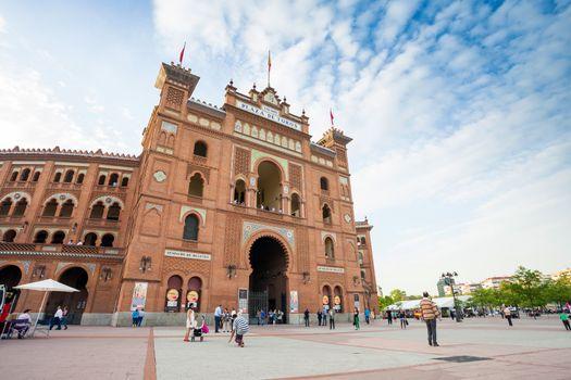 Plaza de Toros de Las Ventas with tourists gathering for the bul