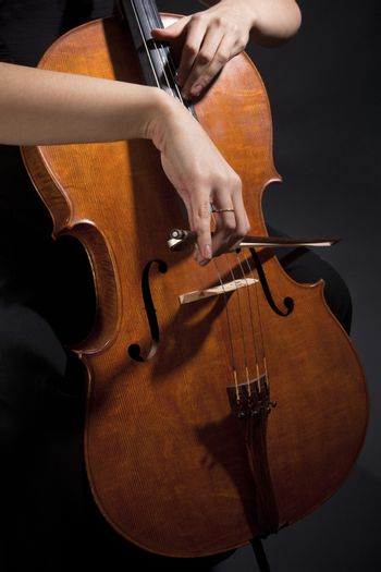 Female Musician Playing Violoncello