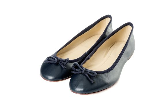 Pair of female shoes over white background right side view