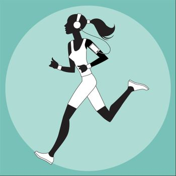 Girl athlete to jog music smartphone