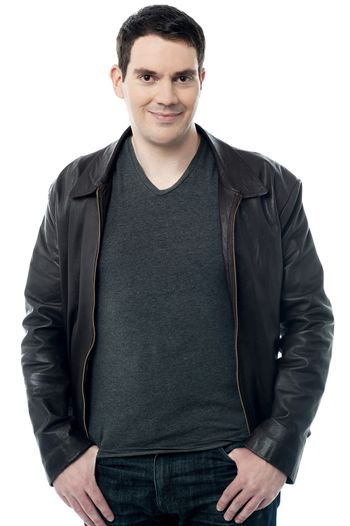 Relaxed man with leather jacket