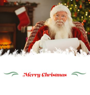 happy santa writing list with a quill