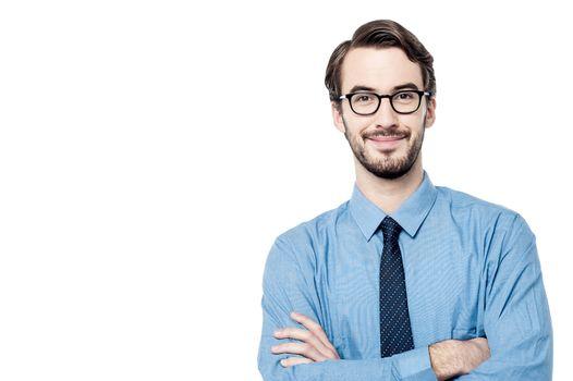 Successful businessman over white