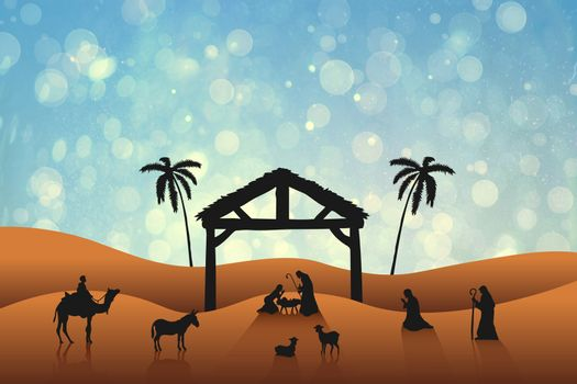 Composite image of nativity scene