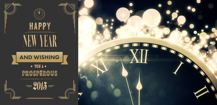 Composite image of art deco new year greeting