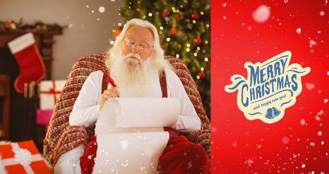 Composite image of relaxed santa writing list with a quill
