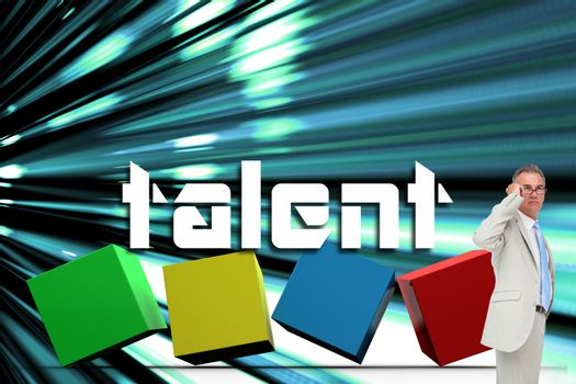 Talent against abstract turquoise glowing background