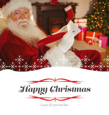 Composite image of smiling santa writing list with a quill
