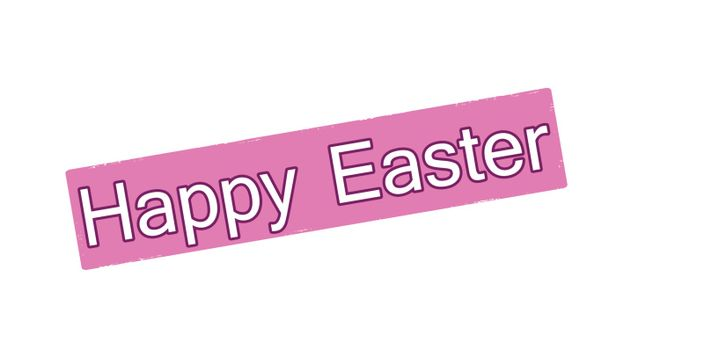 Stamp with text happy Easter inside, vector illustration