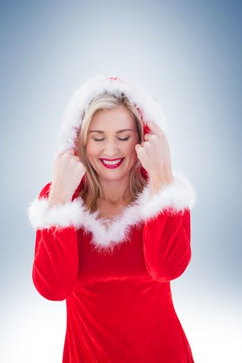 Festive blonde with hood up