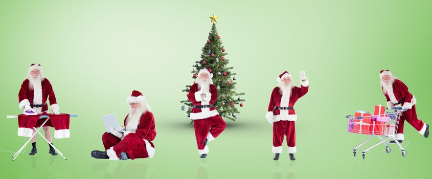Composite image of different santas against green vignette