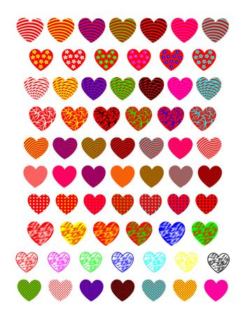 A diverse collection of hearts. Bright  colorful hearts on a white background.