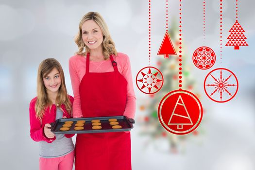 Composite image of mother and daughter with baking tray