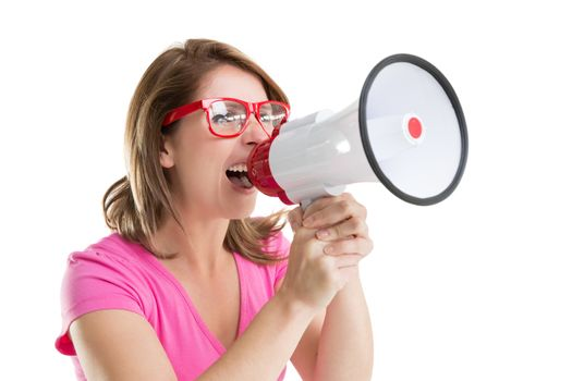 Close up of young woman shouting into bullhorn