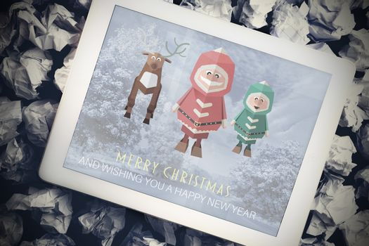 Composite image of santa elf and reindeer