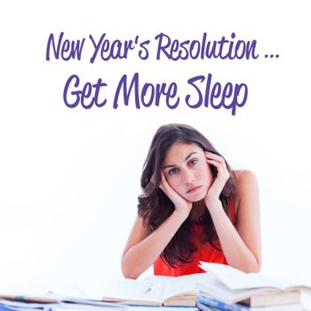 new years resolution against stressed student at desk