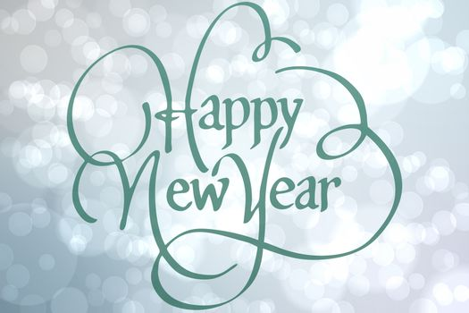 happy new year against light glowing dots design pattern