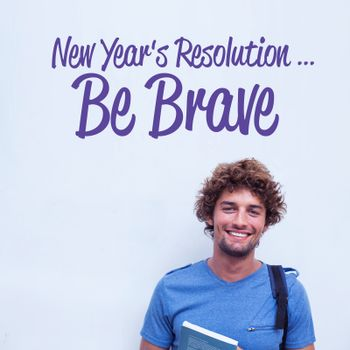 new years resolution against happy student holding book