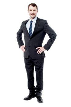 Full length portrait of smart businessman