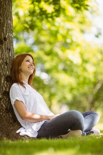 Pretty redhead sitting and smiling in casual clothing