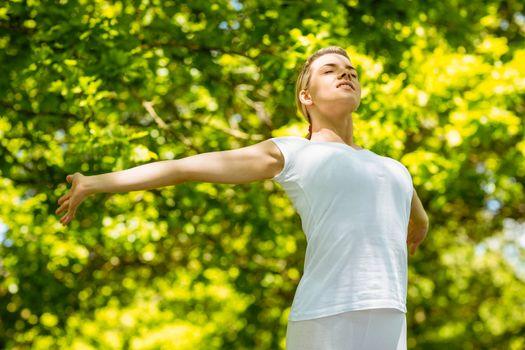 Peaceful blonde enjoying the sunshine