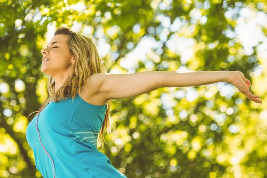 Fit blonde enjoying the sunshine