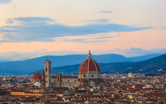 View of the Cathedral of Saint Mary of the Flower - Cattedrale di Santa Maria del Fiore in Florence, tuscany. Italy