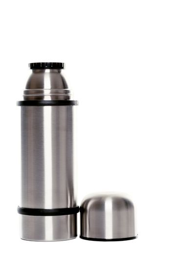 Thermo flask on white background