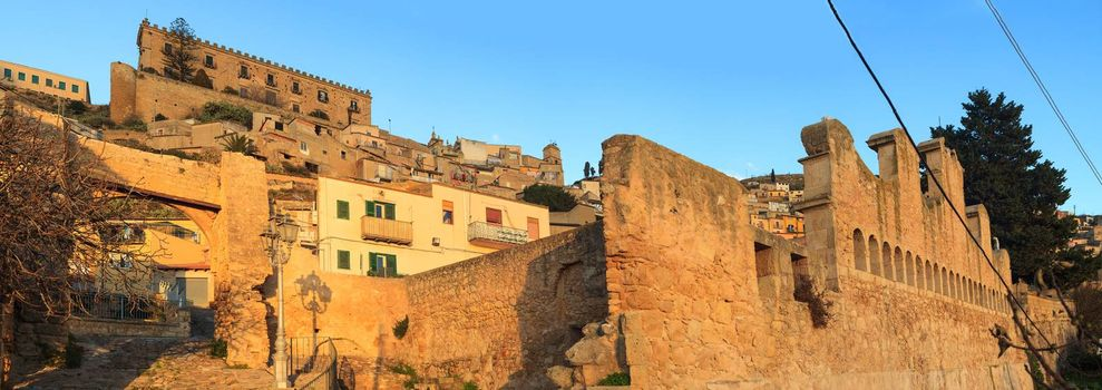 View of Granfonte and Branciforti palace in Leonforte , Sicily