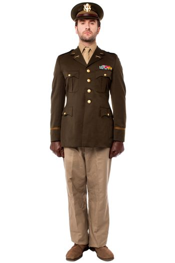 Military officer in attention position