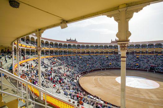 Plaza de Toros de Las Ventas interior view with tourists gatheri
