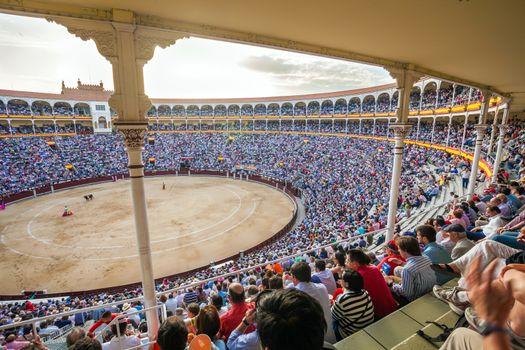 Plaza de Toros de Las Ventas interior view with tourists gathere