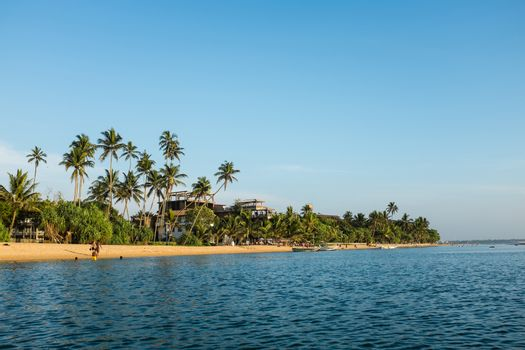 Indian ocean beach in Sri Lanka near Beruwala