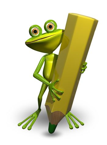 Illustration Green Frog with a Green Pencil
