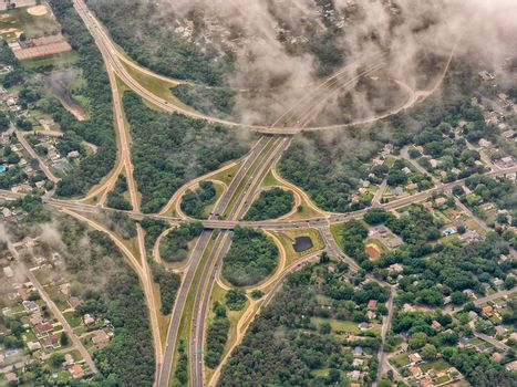 Aerial view of big interstate junction