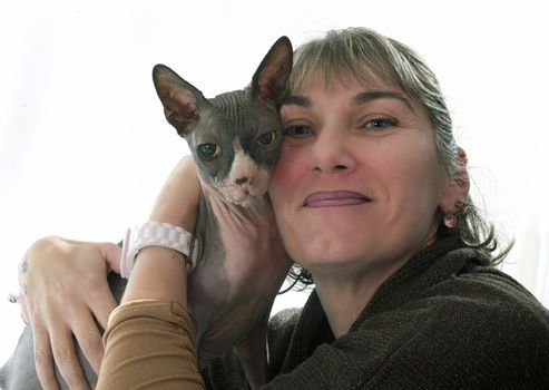 Sphynx Hairless Cat and woman