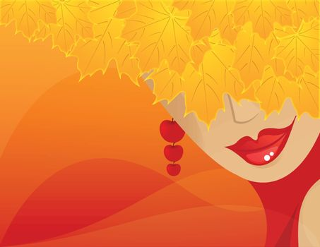 Elegant abstract  autumn girl or woman , vector