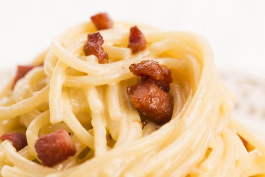 Spaghetti carbonara, a typical italian dish