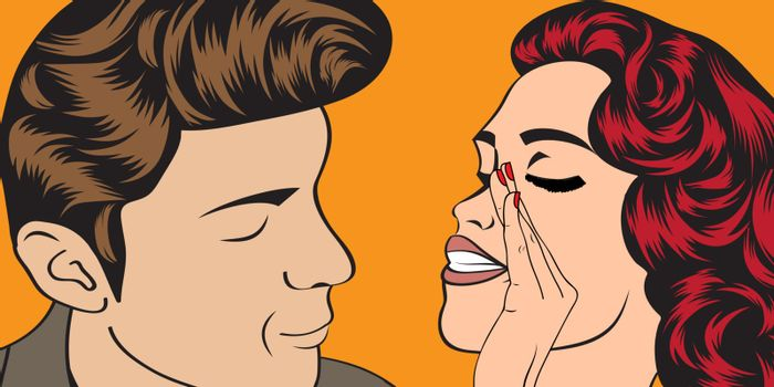 pop art cute retro couple in comics style , vector illustration