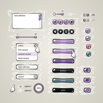 More than twenty elements for the web in purple tones