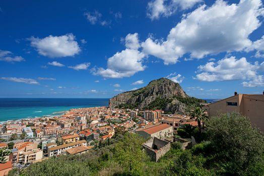 Bay in Cefalu Sicily clouds