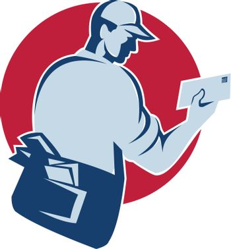 mailman postman deliver mail envelope retro