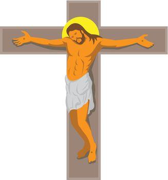 jesus christ on cross retro