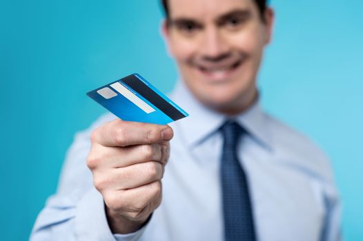 Take my card for shopping.